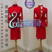 Tassel Latin Dance Dress Clothing Girls Salsa Costume Ballroom Red Feather Latin Dance Dress