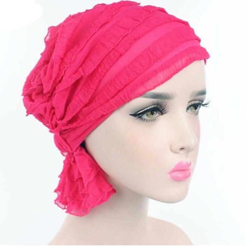 Nouvelle Arrivée Femmes Dentelle Chapeaux Femmes Turban de Chapeau Inde  Chapeau Hijab Cheveux Accessoire Chemothera Chapeau Mousseline de Soie ... b01e81660e9