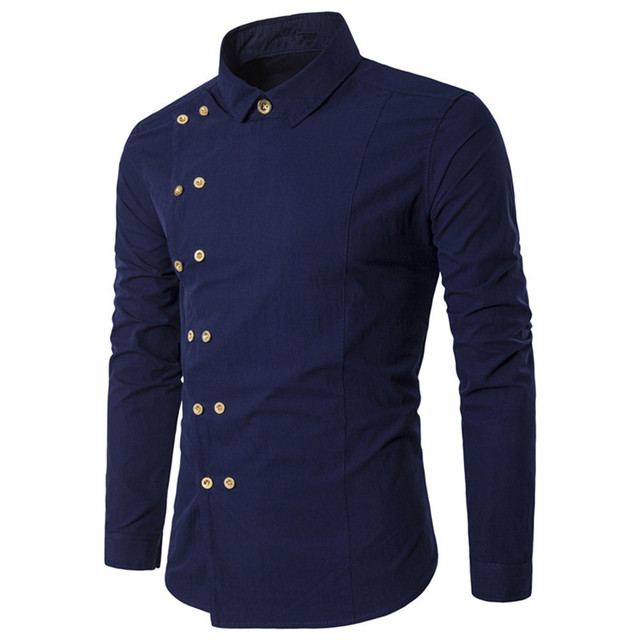 Elegant Dark Blue Shirt Gentleman Double Ted Dinner Wear Clothes Male Blouse 2018 Tide Party Blusa