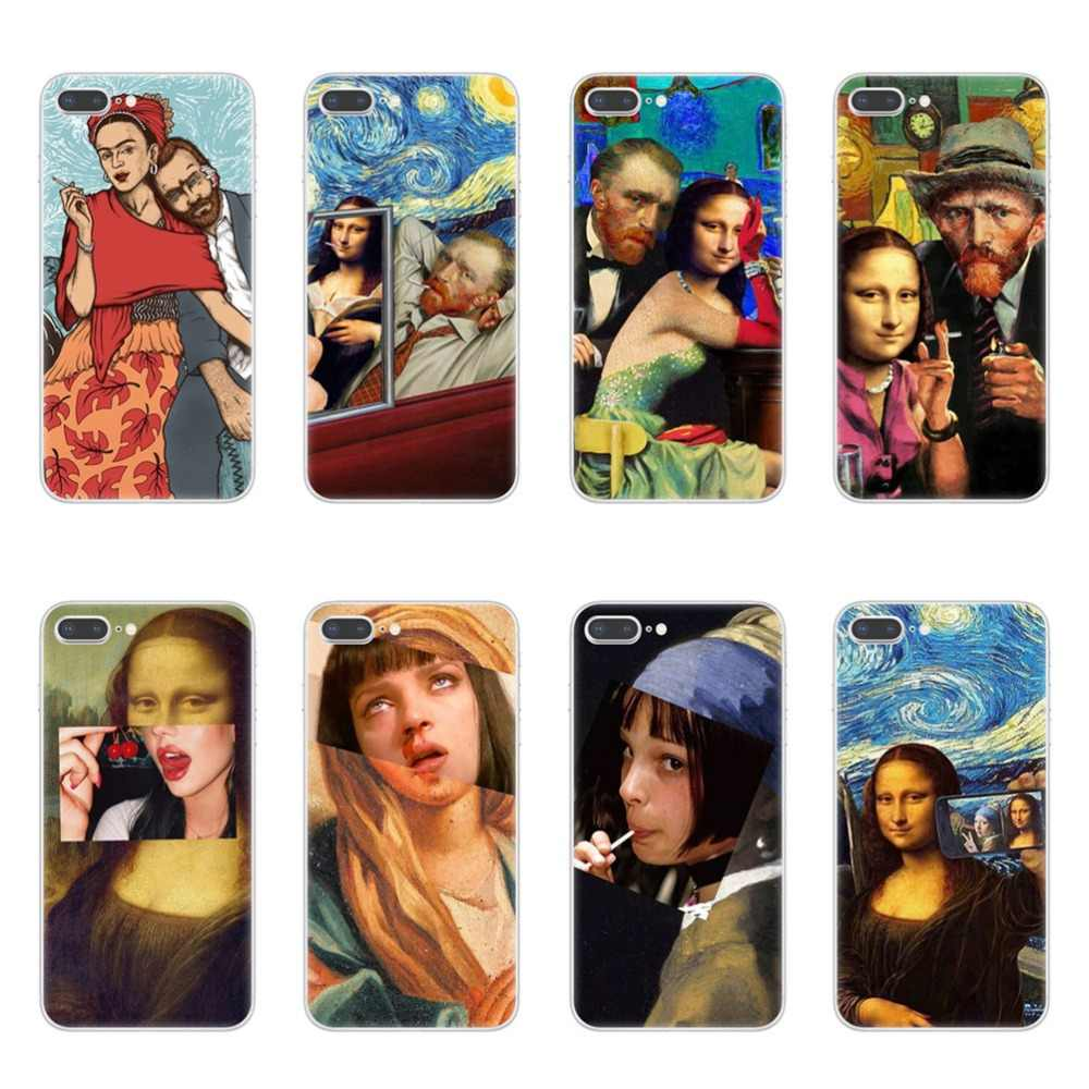 Mona Lisa funny Spoof Art Cases Van gogh Starry Soft TPU Phone Cover For iPhone X XR XS 11 Pro Max 8 7 6 6S Plus 5S SE Plus Case