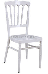 Chaise napoléon en aluminium blanc solide de qualité en gros avec coussin amovible pour la fête des événements de mariage