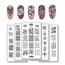 Nail Stamping Plates Valentines Day Theme LOVE Lace Style Rectangle Art Plate DIY Image Stamp Polish