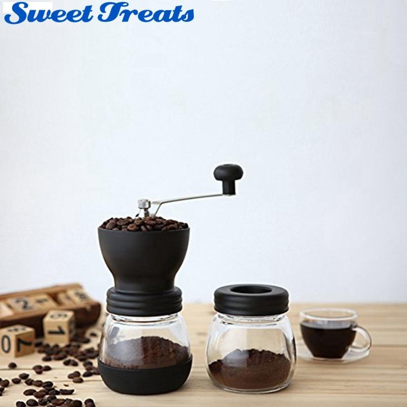 Sweettreats Manual Hand Ceramic Coffee Grinder Coffee Maker Burr Corn Mill Bean Grinder Machine ...
