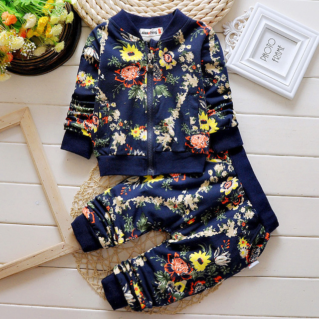 2016 new autumn Baby Clothes Girl boy Suits Cute Flowers Print Cotton Tops jacket +Pants 2 Pcs/Suits Children brand Freeshipping