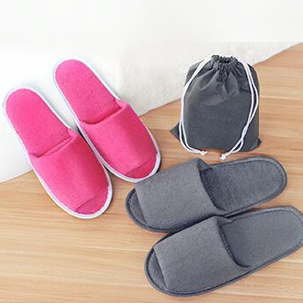 Simple Slippers Men Women Hotel Travel Spa Portable Folding House Home Slippers Warm Indoor Velvet Comfortable Slippers
