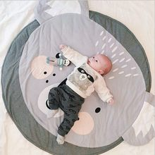 90CM Baby Play Mats Carpet Koala Rabbit Animals Floor Blanket Cotton Thick Crawling Mats Soft Round Floor Rug Playmat for Babies(China)