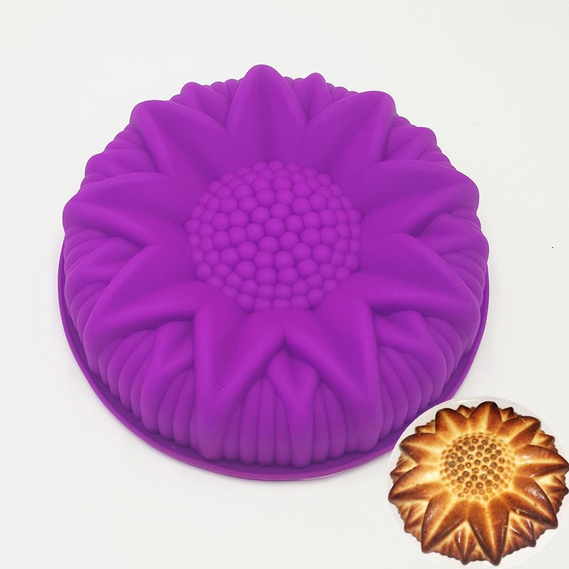 25 25 5 5CM 167G Colorful Big and Beautiful Sunflower Shape 3D Silicone Cake Mold Baking