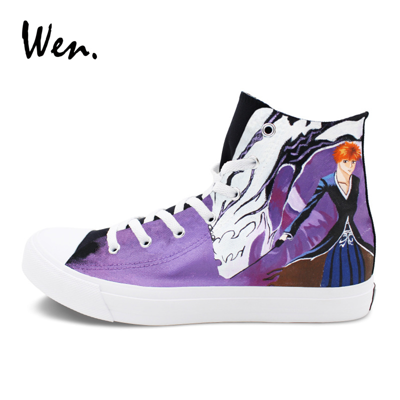 Wen Anime Bleach Shoes Hand Painted Canvas Sneakers Mens Womens Flat Lace Up Skateboarding Graffiti Shoes High Top стоимость