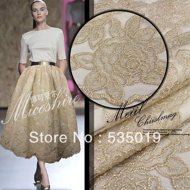 Telas Free Shipping Embroidery fabric brand Three-dimensional embroidery summer one-piece dress nude color lace clothes diy silk
