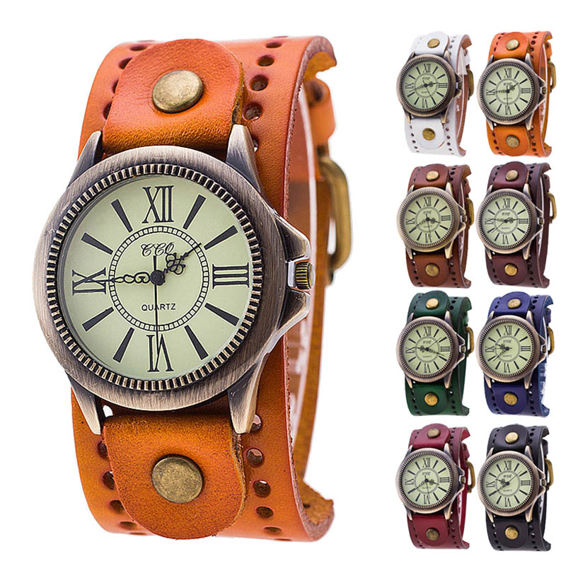 Men Women Watch Vintage Roman Numbers Cow Leather Dress Wristwatch Casual Analog Quartz Watch For Couple Lovers'TT@88