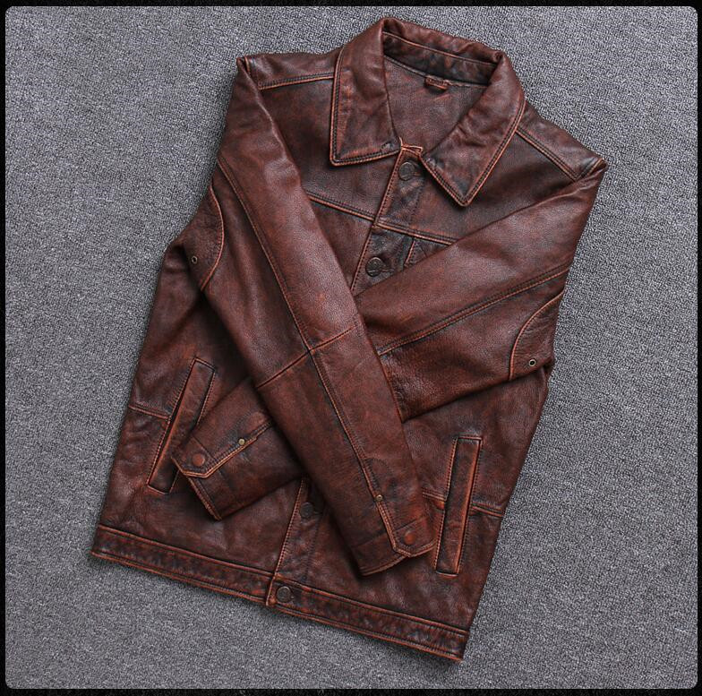 HTB1.2IsPjTpK1RjSZKPq6y3UpXaP 2019 Vintage Brown Men Smart Casual Leather Jacket Single Breasted Plus Size XXXL Genuine Cowhide Russian Coat FREE SHIPPING