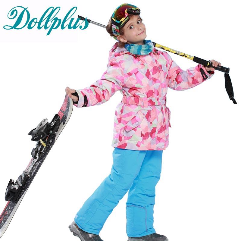 2016 New Winter Children Clothing Sets Teenage Girls Ski Suit Outdoor Windproof Snowboard Jackets+Bib Pants 2pcs Girls Ski Set russian winter children ski suit windproof outdoor girls ski jackets bib pants 2pcs girls clothing set for 2 7 years