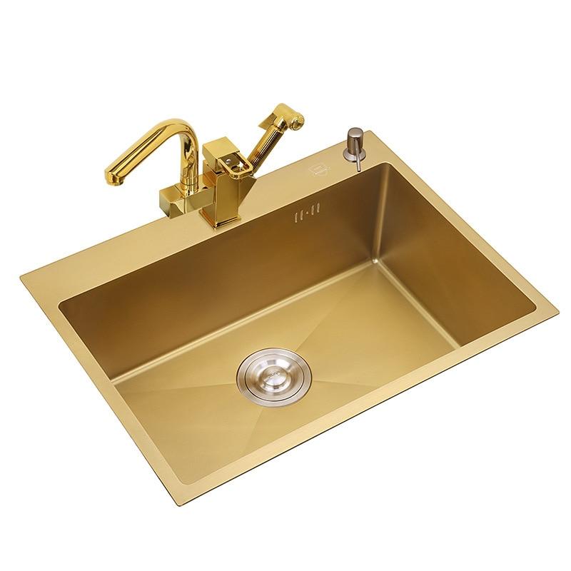 3mm di Spessore In Acciaio Inox Oro Lavelli Da Cucina Doppio Ciotola Sopra Il Contro Nano-rivestimento Lavelli Verdure di Lavaggio Del Bacino con rubinetto