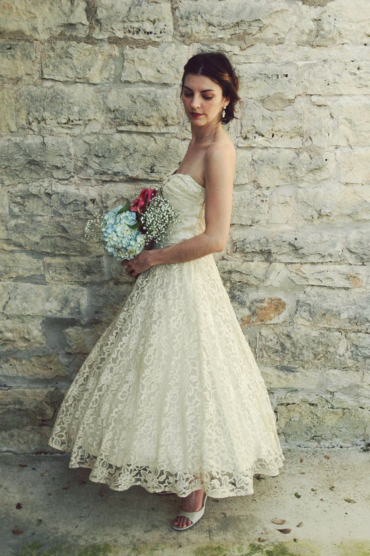 Aliexpress Com Buy Vintage 1950s Ankle Length Wedding Dress