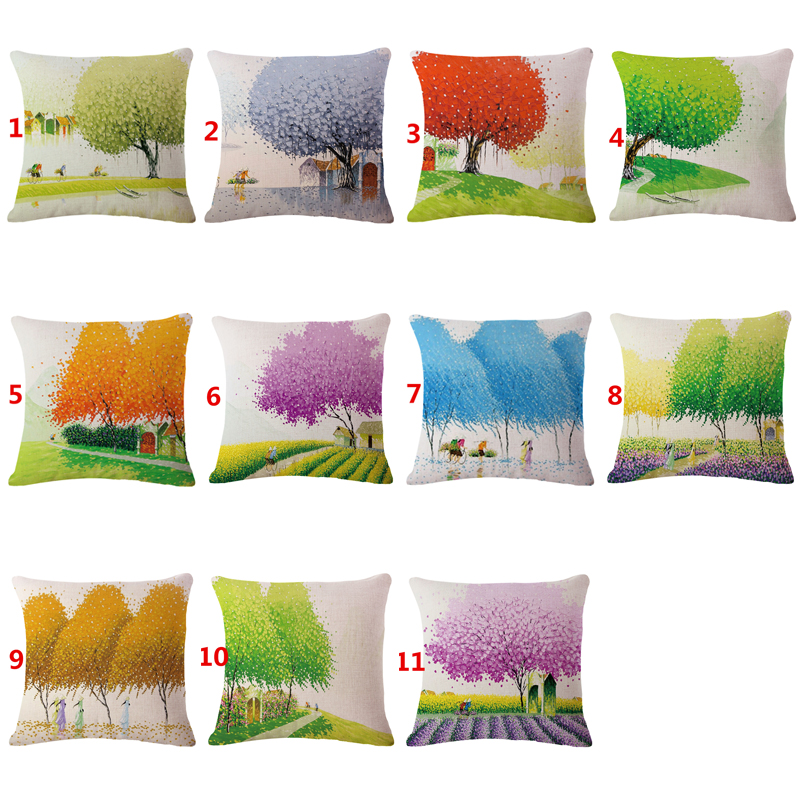 Hot Sale home decorative throw pillowcase Floral Small fresh flowers funda cojines cotton linen cushion cover for sofa 45x45cm