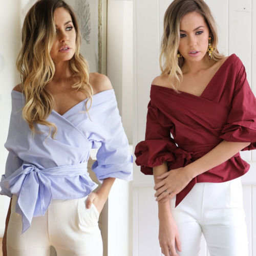 705b52a520b5f placeholder Fashion Women Bardot Top Ruffle Sleeve Tops Waist Bowknot Tie  Cross Off Shoulder Shirt V-