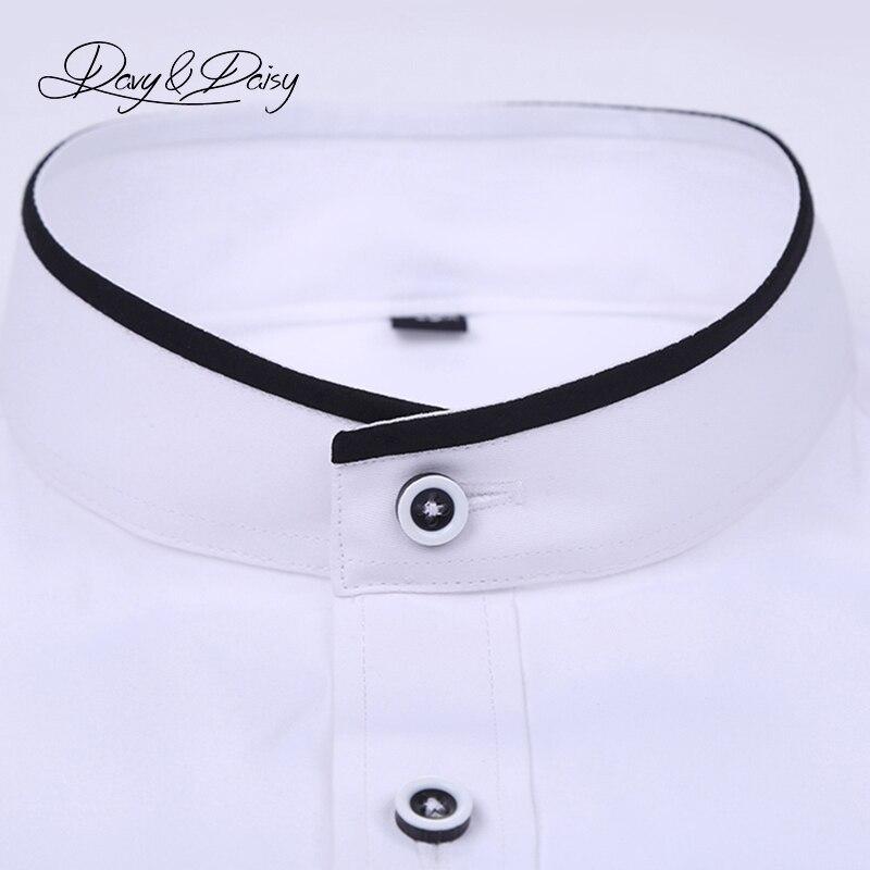 DAVYDAISY Men Shirt Mandarin Collar Long Sleeved Classical Solid Shirt Men Slim Fit Dress Business camisa masculina DS089