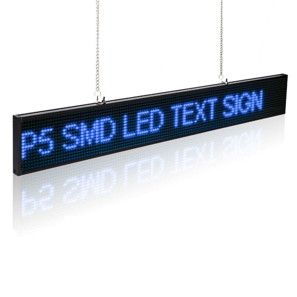 50cm P5 SMD Led Display Sign Module Edit Message Adjustable Brightness LED Display Board With Metal Chain Blue Time Countdown цена и фото