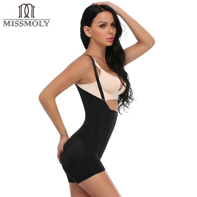 Miss Moly Women's Underbust Strap Zipper Seamless Traceless Shaper Full Slimming Bodysuit Butt Lifter Black Shapewear Plus Size