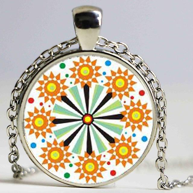 Charm Vintage Silver Color Mandala Jewelry Om Symbol Buddhism Zen