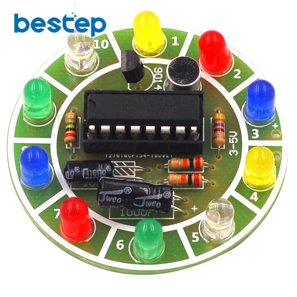 Fun 4017 Colorful Voice-activated Rotating LED Lights Circuit Board Production DIY Kit Electronic DIY Production Parts