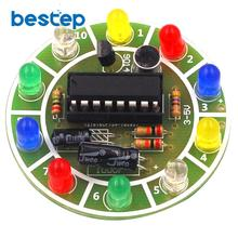 Fun 4017 Colorful Voice-activated Rotating LED Lights Circuit Board Production D
