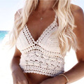 2016 Women Summer Short Vest Sexy Hollow Out V Neck Plain White Lace Sleeveless Crop Tops Crochet Bikini Tank Tops Shirt D0209