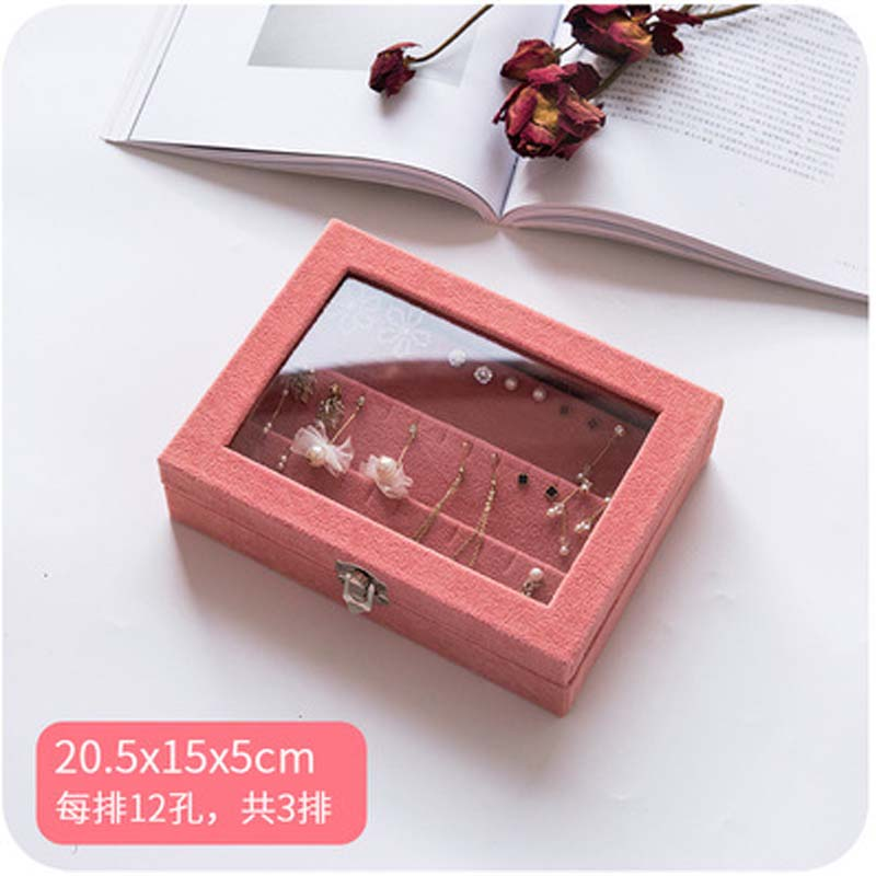 2019 Mordoa Peachblow Velvet Jewelry Box Earrings Organizer Box Holder Case Jewelery Storage Box Earring Display BOX 20*15*4.5cm