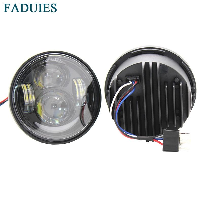 """FADUIES 4.5 """"Dual Daymaker LED-strålkastare för Harley Davidson Fett Bob FXDF Motorcykel Daymaker projektor strålkastare med DRL"""