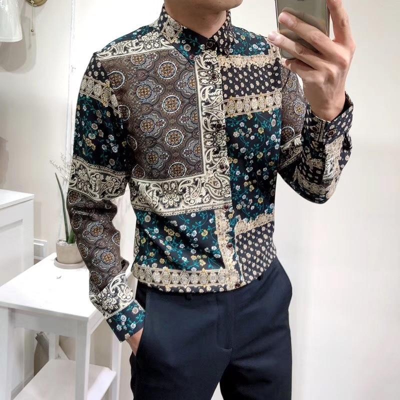 Texture Printing Self-cultivation Long Sleeve Shirt Temperament Four Seasons Social Shirts Turndown Collar Camisas Para Hombre