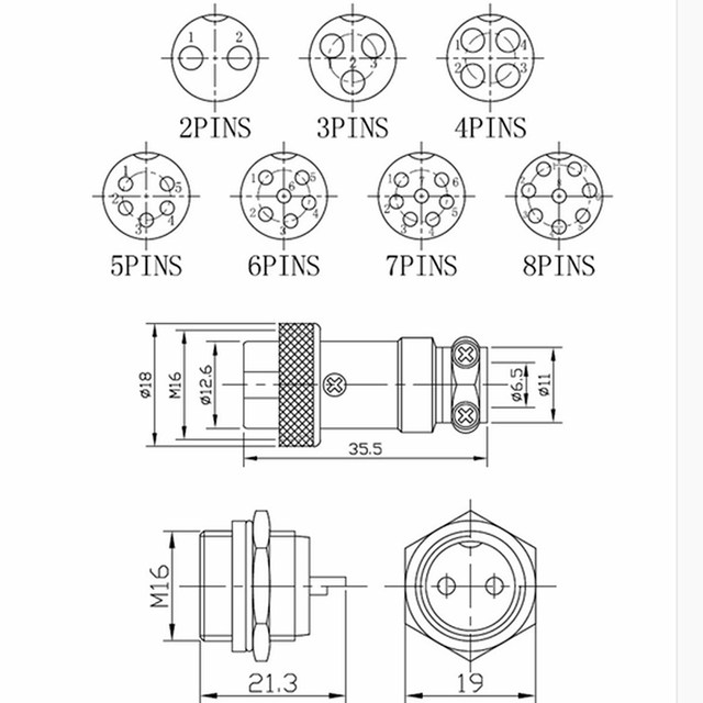 8 Pins M16 Screw Type Metal