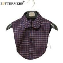 купить BUTTERMERE Plaid Fake Collar For Women removable collar Ladies Cotton British Style Female Vintage Casual Shirt False Collar дешево