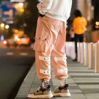 Personality fashion pants mens feet trousers pantalones hombre button decorated large pocket harem pants for men pantalon homme