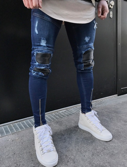 10655ec5418 2018 New Dropshipping Men Jeans Stretch Destroyed Ripped Design Fashion  Holes Patchwork Ankle Zipper Skinny Jeans