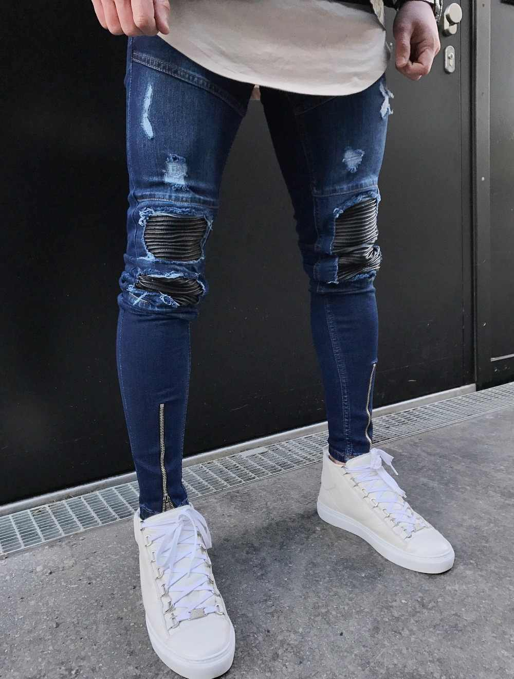 2020 Nuevos Pantalones Vaqueros Triangulares Para Hombre Diseno Roto Diseno Roto Moda De Agujeros Patchwork Cremallera De Tobillo Pantalones Vaqueros Ajustados Para Hombres Men Jeans Stretch Designer Mens Jeansfashion Men Jeans Aliexpress