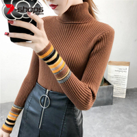 Ccibuy Women Knitted Sweaters Pullovers Turtleneck Color Long Sleeve Women Sweater Femme Pull High Elasticity Pullovers Sweater