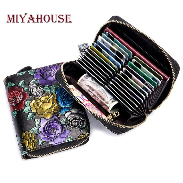 Genuine leather colorful rose embossed credit card holder wallets genuine leather colorful rose embossed credit card holder wallets for female high capacity passport business card colourmoves