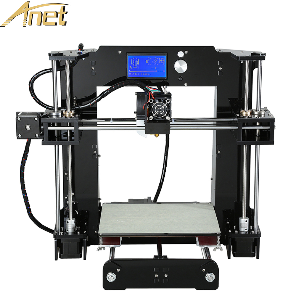 Easy Assemble Anet A6 3d printing machine Aluminum Heated Reprap Prusa i3 3D Printer Kit DIY With Free Filament 16GBcard and LCD