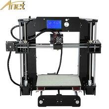 Fácil de Montar Anet A6 3d máquina de impresión De Aluminio Calefacción Reprap Prusa i3 Impresora 3D Kit DIY Con El Filamento 16 GBcard y LCD