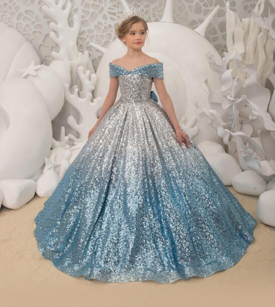 Ice blue sequin flower girl dress V neck off the shoulder princess toddler junior bridesmaid pageant