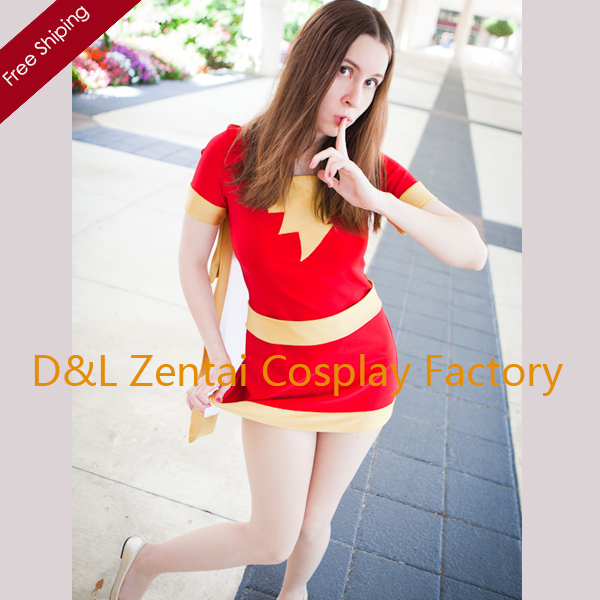 Free Shipping DHL Wholesale Sexy Red and Yellow Mary Marve Spandex Superhero Zentai Catsuit Cosplay Dress Halloween Costume