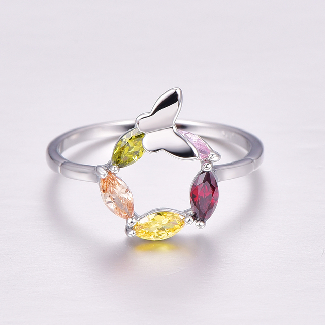 Lingmei Female Multi Color Ring wedding ring Fashion gift jewelry
