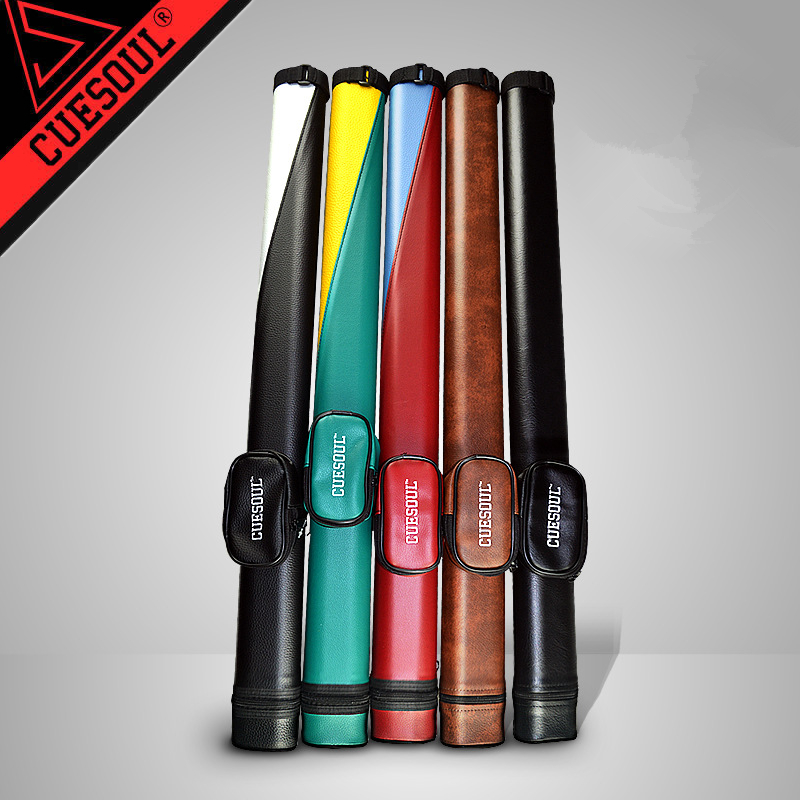 CUESOUL Two Tone Pool Cue Tube Case 1 Butt 1 Shaft Billiard Cue Canister For 1/2 Jointed Pool Cue Stick Case cuesoul g202x6 6 pieces pool cue stick with cue bridge head cue towel 8 cue stick pool table billiard wall rack for house bar