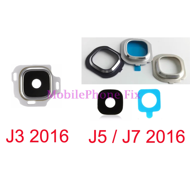 100 Set Glass Back Camera Lens + Metal Frame Holder For Samsung Galaxy J3 J5 J7 2016 J320 J510 J710 with Adhesive Glue