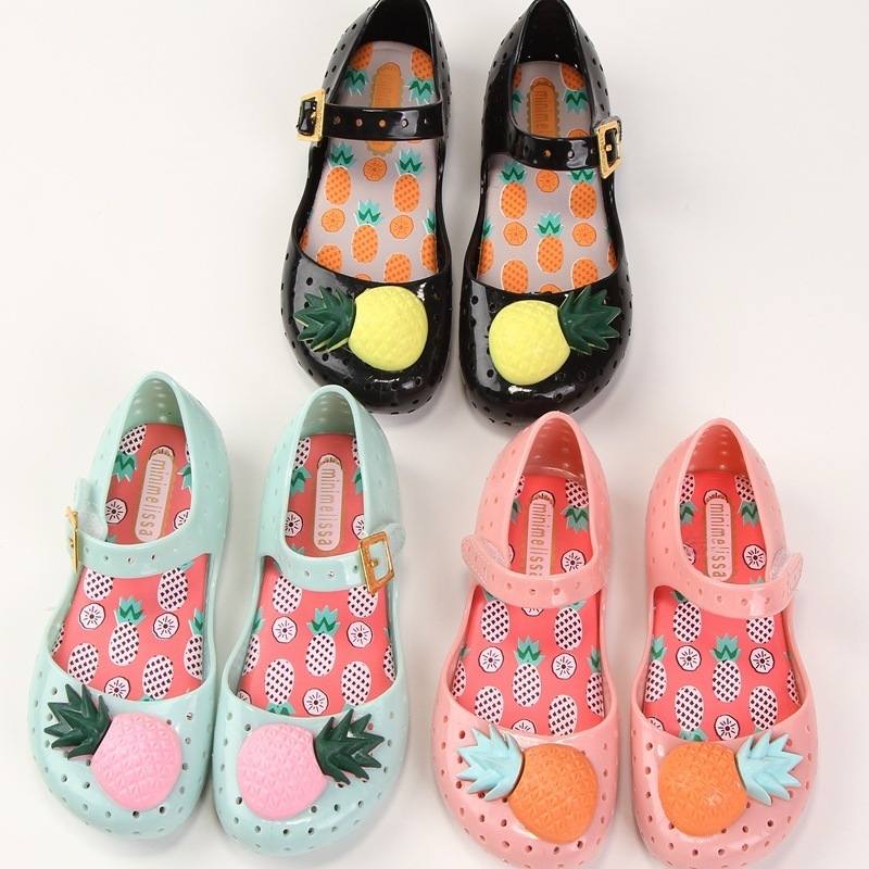Mini Melissa Children Fashion Summer Kids Casual Hollow Fruits Pineapple Cute Princess Beach Clogs Mules Girl Jelly Shoes Sandal
