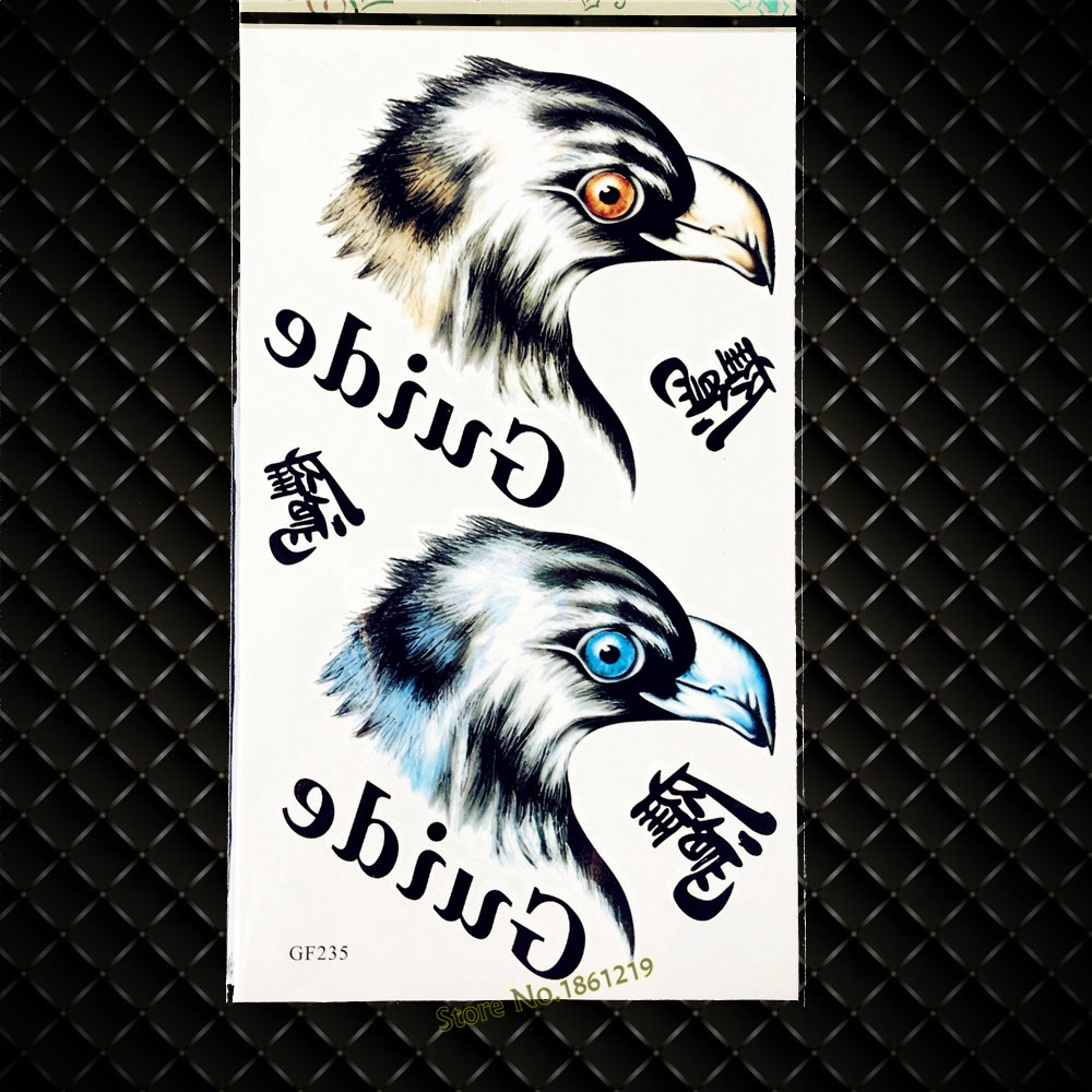 Chinese Character Eagle Head Temporary Tattoo CHild Inspired Waterproof Fake Tattoo Summer Style, Flash Tatoo Body ARm Men Women