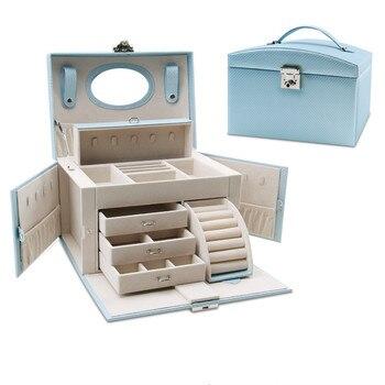 Европа стильная коробочка для драгоценностей большая емкость ювелирные изделия Органайзер многослойный макияж Чехол мульти-функциональн... >> Alisa Alisa Store
