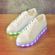 High Quality Children USB Charge Shoes Fashion Boys Girls LED Luminous Sneakers 7 colors Lace-up Kids Glowing Shoes Solid Color