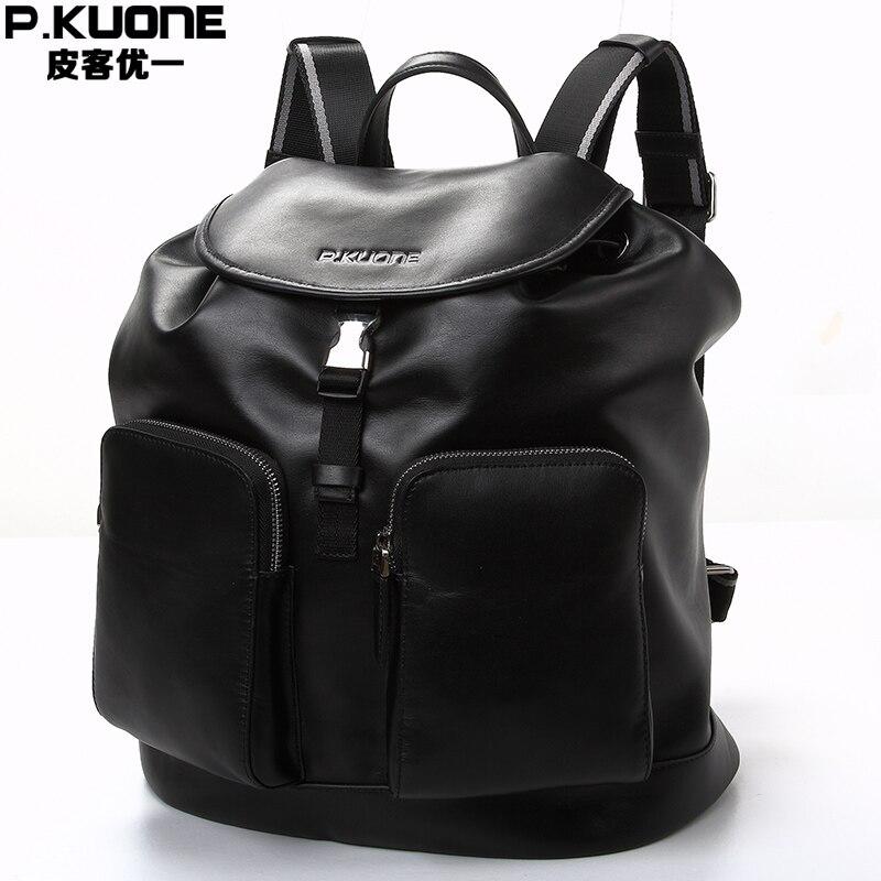 P.KUONE Genuine Leather 2017 New Fashion Men Luxury Brand Bag Waterproof Laptop Messenger Travel Backpack For Women School Bags