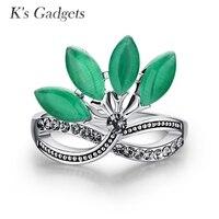 K's Gadżety Naturalny Zielony Kamień Pierścień Dla Kobiet Klasyczny Cyrkonią płatek Pierścień Srebrny Kolor Zielony Pierre Opal Kamień Pierścień Naturalne pierścień